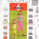 MCCALLS 3189 CHILDRENS' & GIRLS' TOP, PULL ON CAPRI PANTS OR SHORTS