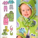 SIMPLICITY 4434 BABIES' TOP, PANTS, CAPELET, BIB AND ONE SIZE BLANKET WRAP, SZ 1 MO - 18 MOS