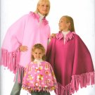 SIMPLICITY 3981 ADULTS', CHILDS'  & GIRLS NO-SEW PONCHOS  CH SZ 2-4, GRLS  SZ 8-12, ADLT 10-16