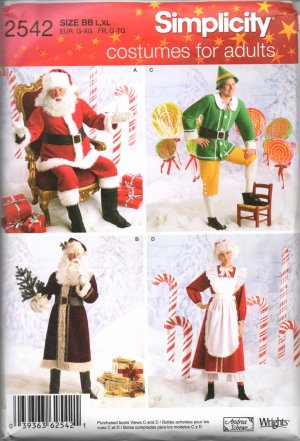 SIMPLICITY  2542 ADULT CHRISTMAS COSTUMES, SANTA, ELF, VINTAGE SANTA & MRS. CLAUS SZ 30/32 - 38/40