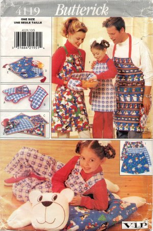 BUTTERICK  4119 CRAFT PATTERN - CHRISTMAS GIFT PACKAGE APRONS, MITT, PLACEMATS, NAPKINS