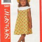 Butterick See & Sew 5407 Children's Dress & Hat SZ 2-4