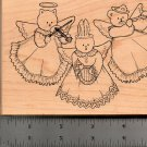 COMOTION ANGELIC CAROLER'S- CAT, BEAR & BUNNY RUBBER STAMP