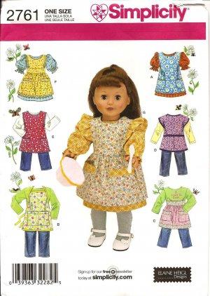 "Simplicity 2761 18"" Doll  Clothes & Aprons"