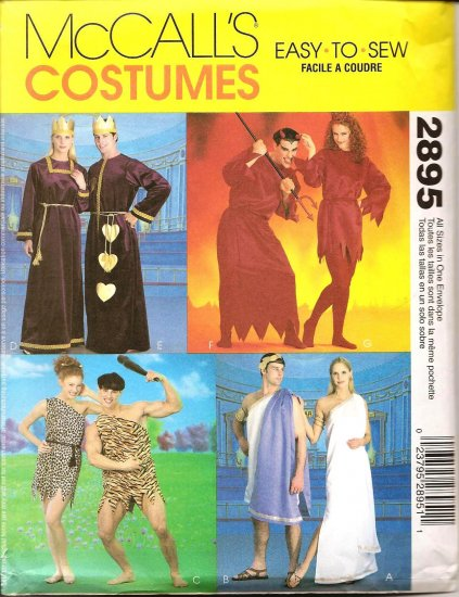 MCCALLS 2895 COSTUME - MISSES AND MENS DEVIL, ROMAN, CAVE, KING & QUEEN OF HEARTS,