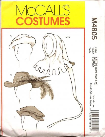 MCCALLS M4805 COSTUME PATTERN  -MEN'S MEDIEVAL & RENAISSANCE HATS