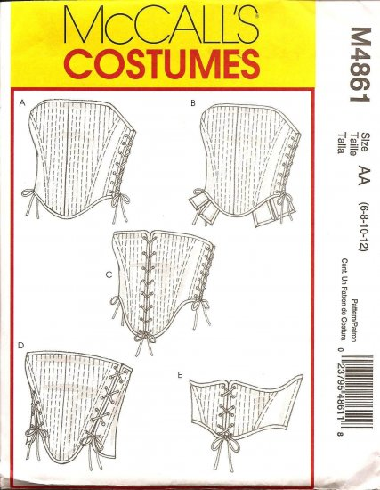 MCCALLS M4861 COSTUME PATTERN  - MISSES CORSETS SZ: 6,8,10,12