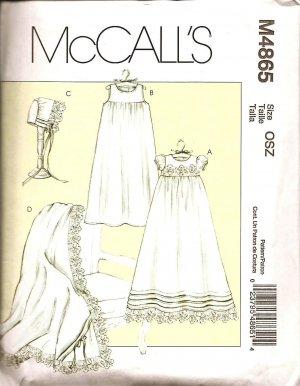 MCCALLS M4865 INFANTS' DRESS, SLIP, BONNET & BLANKET S