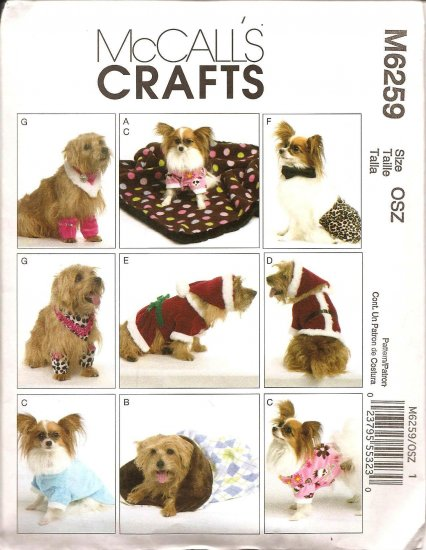 MCCALLS M6259 PET CLOTHES, BLANKET OR SLEEPING BAG IN TWO SIZES