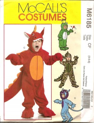 MCCALLS M6185 COSTUME TODDLERS & CHILDRENS' DINOSOUR, FROG PRINCE, COSTUMES SZ 4,5,6