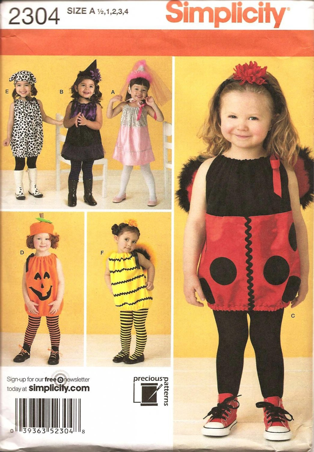 Simplicity 2304 Sewing Pattern for Toddler Costume - Lady Bug, Bee, Pumpkin, Dog, Witch & Princess