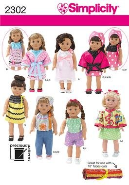 """SIMPLICITY 2302 18"""" Doll Clothes"""