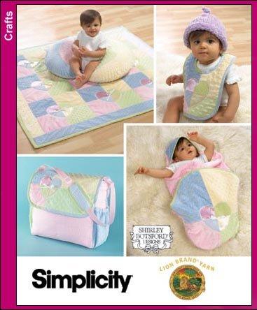 Simplicity 4202  Baby Accessories, Quilt, Pillow Cover, Wrap, Bib, Bag & Hat