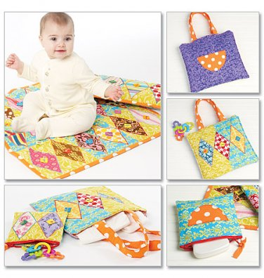 MCCALLS M6340 CRAFT PATTERN - BABY Pillow, Mini Quilt, Zip Case and Diaper/Tote Bag