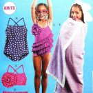 MCCALLLS M6729 Toddlers'/Children's Swimsuits and Cover-Up SZ 1-2-3