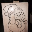 STAMPENDOUS SNOWMAN WARM EARS RUBBER STAMP