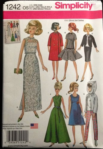 """Simplicity 1242 """"RETRO"""" Fashion doll Clothes for 11 1/2"""" doll"""