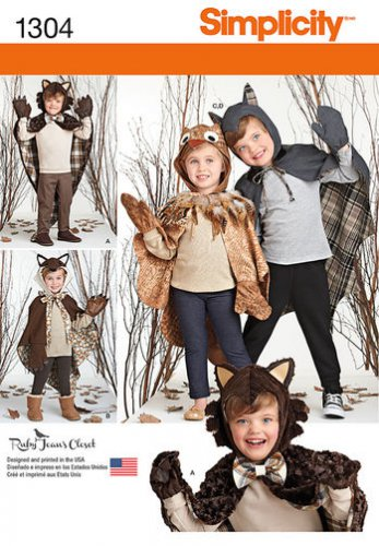 SIMPLICITY 1304 CHILD'S LINED ANIMAL CAPE COSTUMES