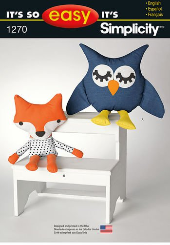 SIMPLICITY 1270 Sewing Pattern for Stuffed Owl and Fox