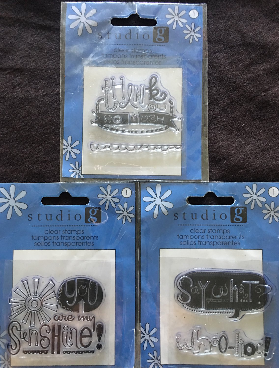 Studio G  Lot of 3 Clear Stamps pkgs - Thanks so much, Say What, You are my Sunshine