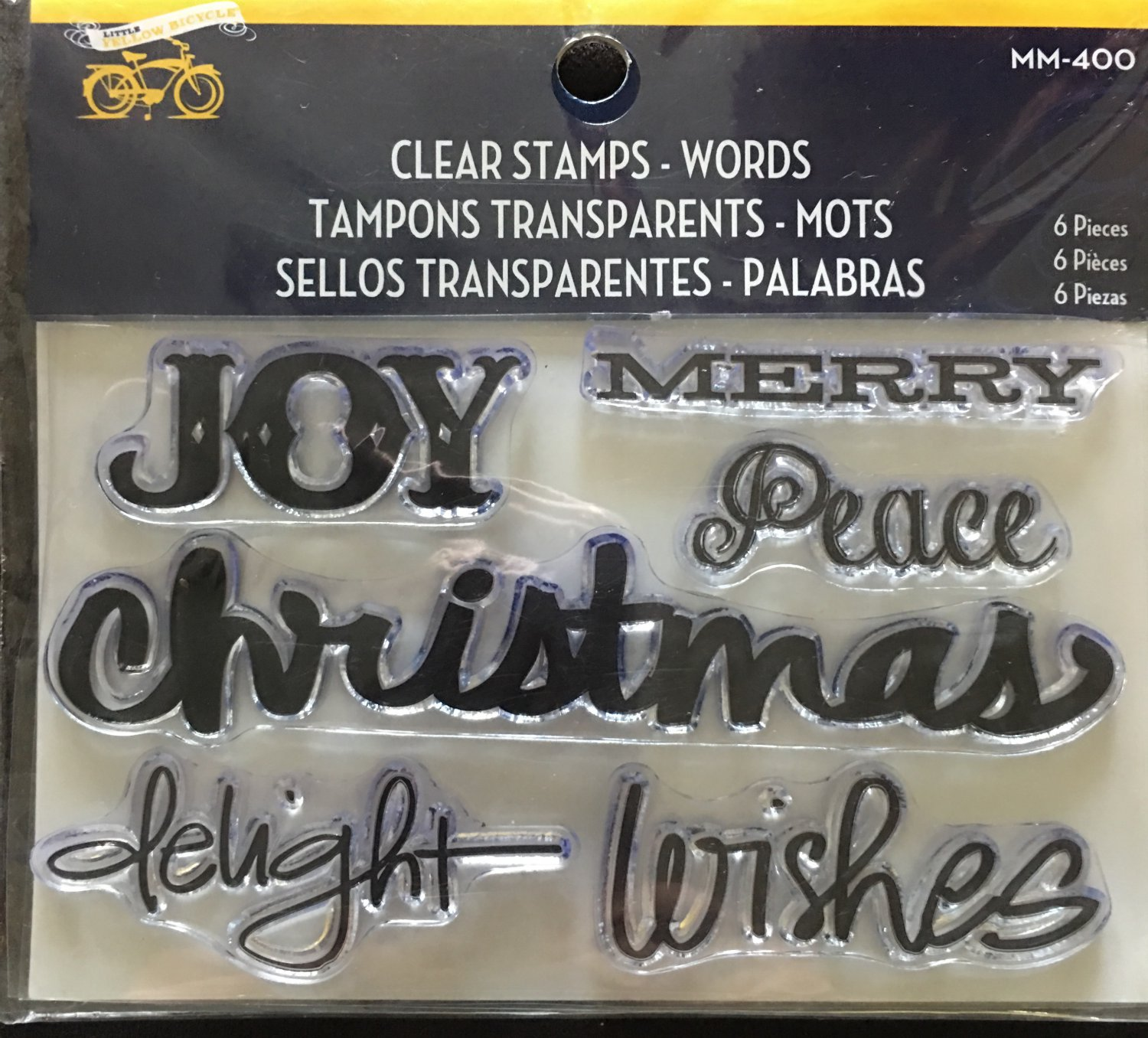 Little Yellow Bicycle Clear Stamps 1 package - CHRISTMAS WORDS