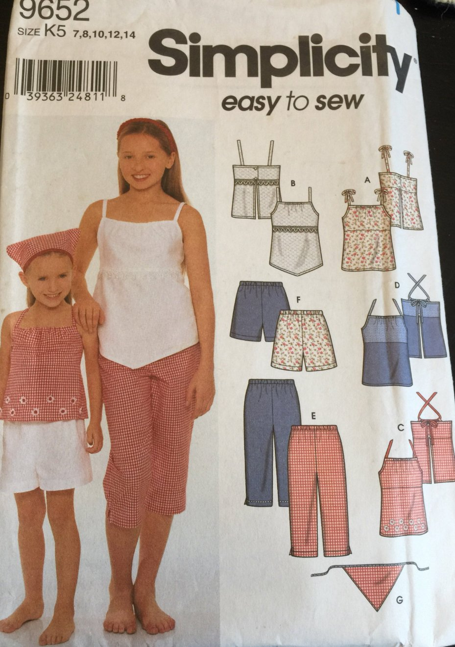 SIMPLICITY 9652 Sewing Pattern for Child's and Girls' Tops, Pants, Shorts & Scarf