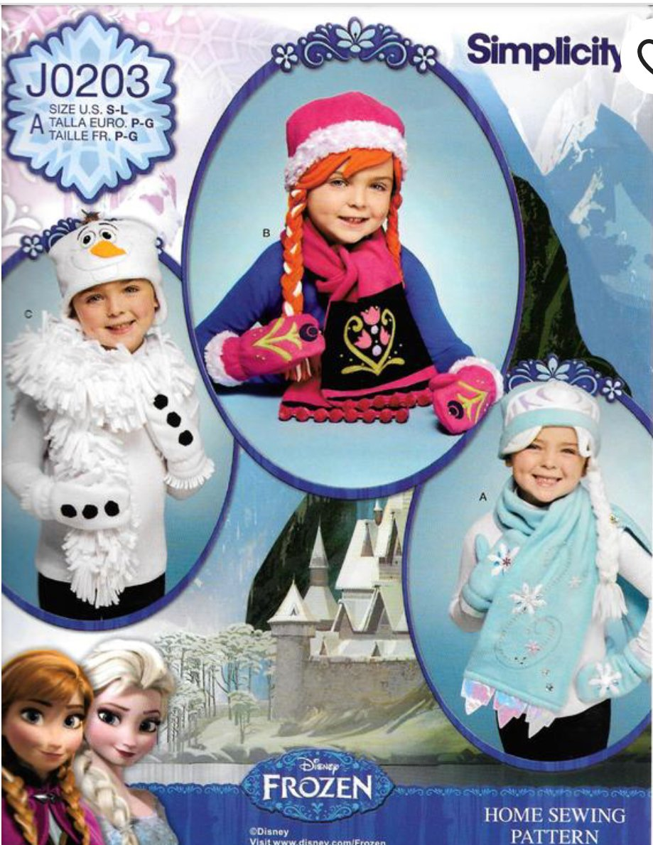 Simplicity J0203 PATTERN FOR DISNEY FROZEN CHILDS' HATS, MITTENS AND SCARVES IN SIZES S, M, L