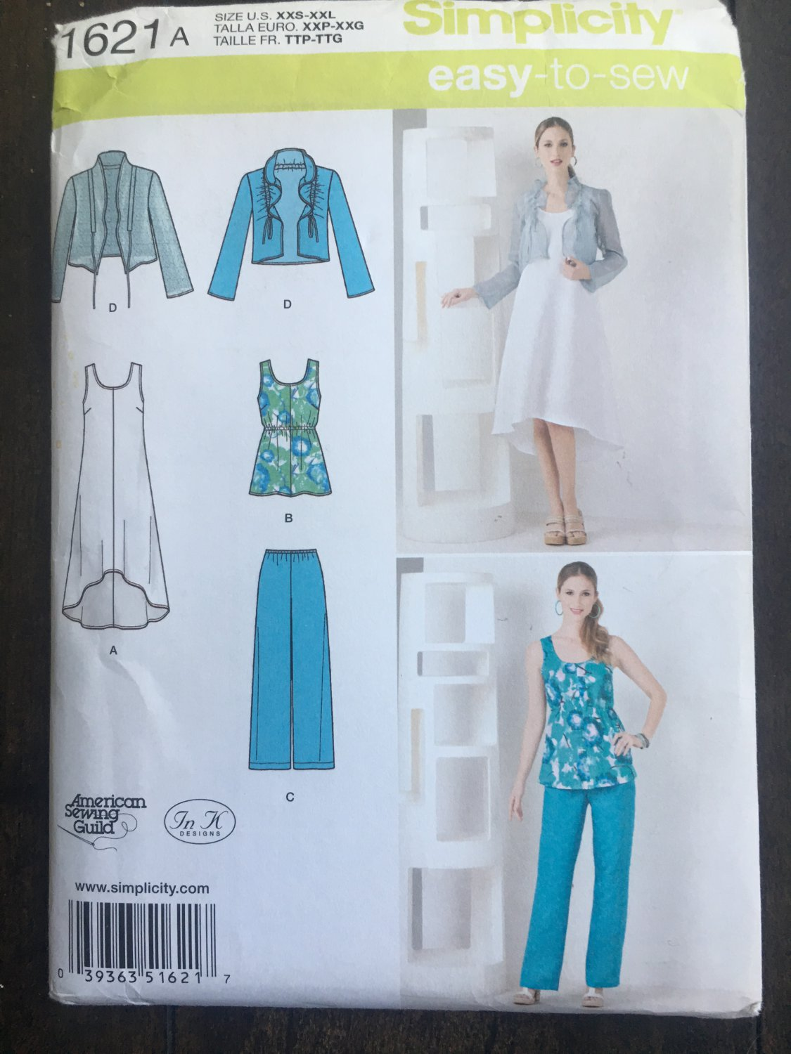 """Simplicity 1621 Sewing Pattern for Misses"""" Dress or Tunic, Pants &  Jacket SZ xxs-xxl"""