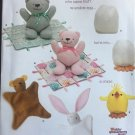 "Simplicity 1681 Craft Pattern for 12 1/2"" Bear, Blanket Animal and Chick ToyTh"