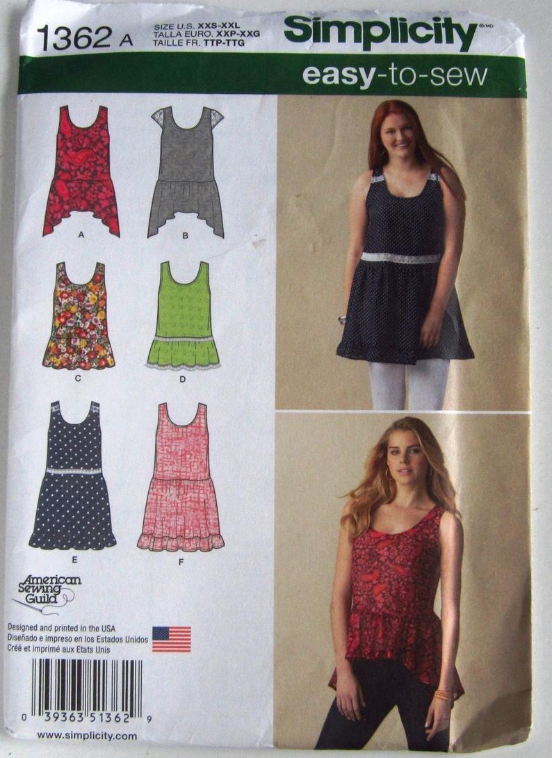 Simplicity 1362 Pattern for Misses' Loose Mini Dress/Tunic w/Hemline/Trim Variations  xxs-xxl