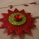 """starburst- red& green with red jewel"""