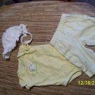 nb 3pc white hat/yellow shirt/white pants w/yellow flowers