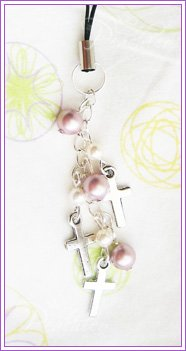 Cross + Pearls Cellphone Charms #451