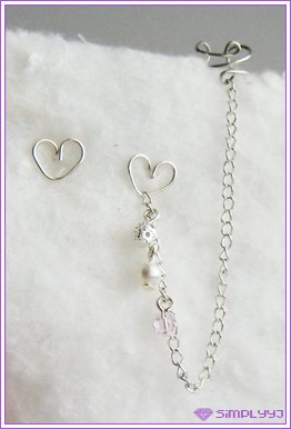 Pink Heart Long Cuff Earring #215