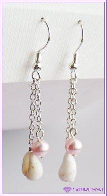 Natural Seashell and Swarovski Pearl Earrings #408