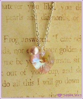 Swarovski Pink AB Heart Necklace #523