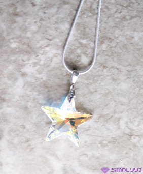 Sterling Silver Swarovski Star Necklace #529