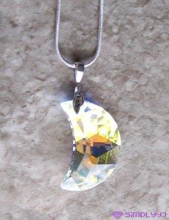 Sterling Silver Swarovski Moon Necklace #530