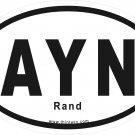 Ayn Oval Car Sticker