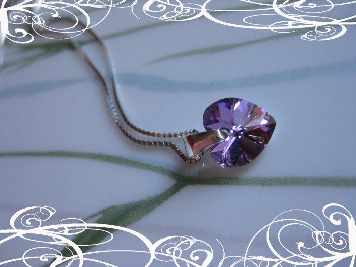 swarovski Heart crystal on sterling silver pendant