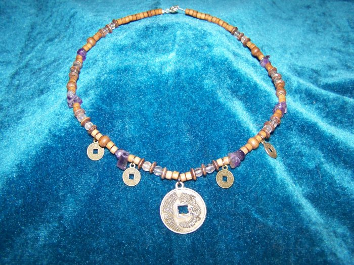 Chinese coin pendant necklace..with Amethyst & Wooden beads.