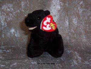 Cinders the Black Bear beanie baby - NWMT