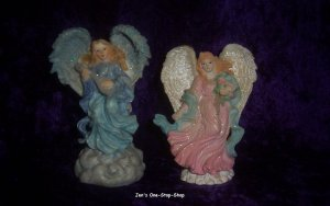 Set of 2 Angel Figurines - 4 1/2 inch and 5 inch