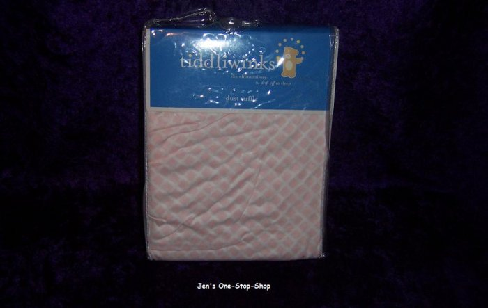 Tiddliwinks pink and white crib dust ruffle - New In Package!!