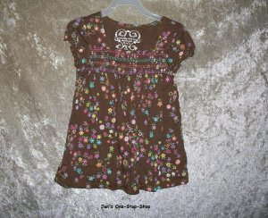 Girls Size 5/6 The Children�s Place brown flowered shirt