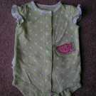 Carter's Girls Green Watermelon Onsie Size 9M