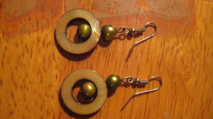 Handmade Freshwater pearl shell earrings-sterling silver-FREE SHIPPING