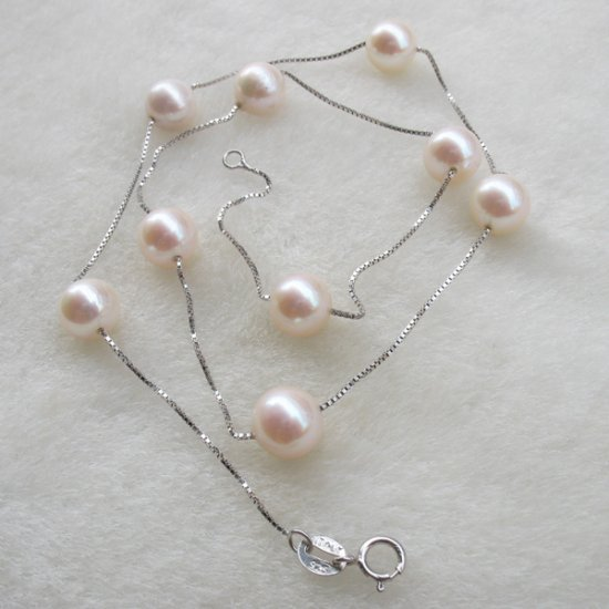 genuine fresh pearl silver necklace �19
