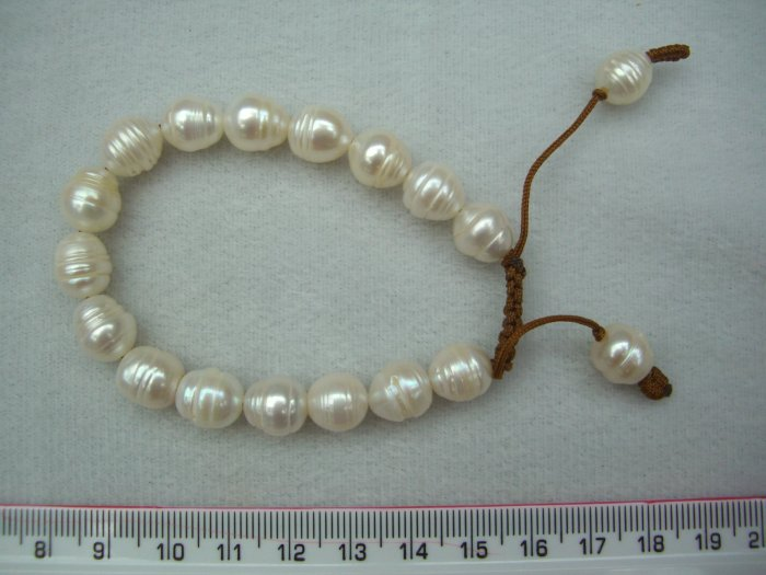 BR429-90105G     Short Rice Bracelet White with Brown Threads
