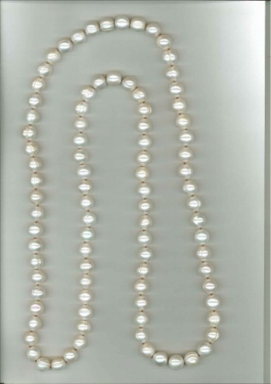 "12-13mm Short Potato with Circles Endless Necklace 44"" White"